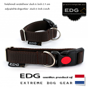 EDG Click Lock Collar 2,5cm - 1 inch chocolate brown