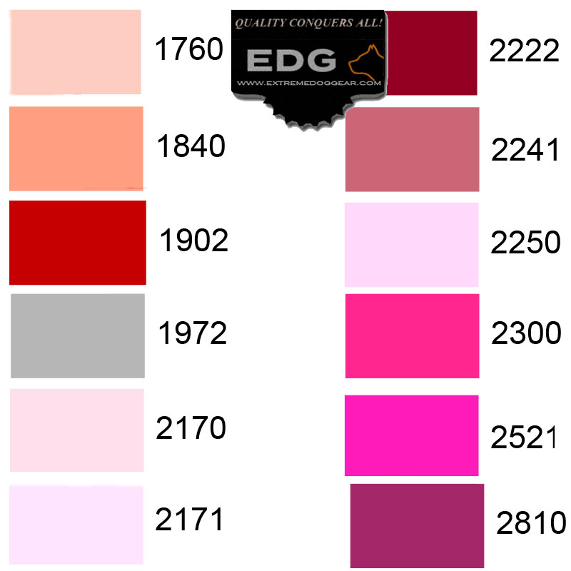 embroidery thread color list EDG collars