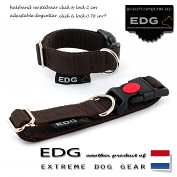 EDG Click Lock collar 2cm - 0.78 inch chocolate brown