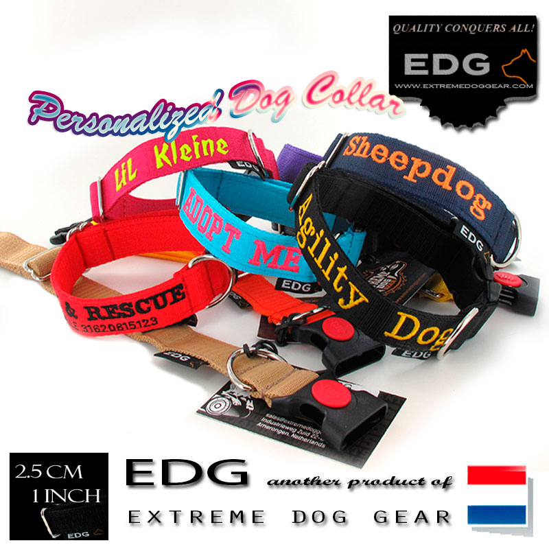 EDG - 1 inch Embroidered dog collars and leads